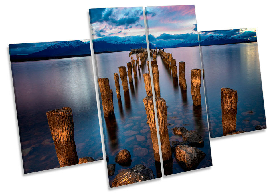 Sunset Pier Jetty Lake CANVAS WALL ART MULTI Panel Print Box Frame