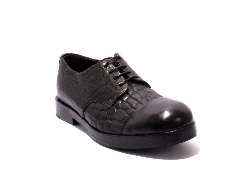 Ernesto Dolani 2104 Black Pebbled Leather / Leather Lace-Up Shoes 43 / US 10