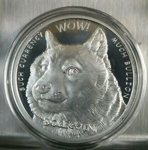 Dogecoin Proof Like 1 Oz 999 Fine Silver Commemorative