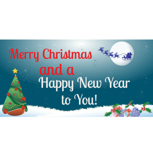 Holiday Party Decor Sign Merry Christmas and Happy New Year To You Vinyl Banner