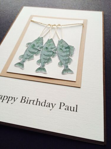 Personalised Handmade Birthday Card Fishing Dad Brother Husband Mens Boys