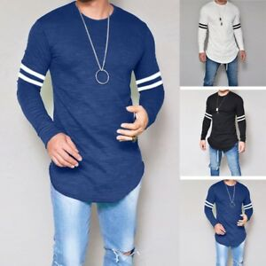 Fashion-Men-039-s-Slim-Fit-Long-Sleeve-Blouse-Tee-Striped-Casual-Muscle-Tops-T-shirt