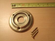 A 60 mm DIAMETER  PRESSED BRASS DOOR KNOB ROSE / BACK PLATE AGED FINISH RIM LOCK