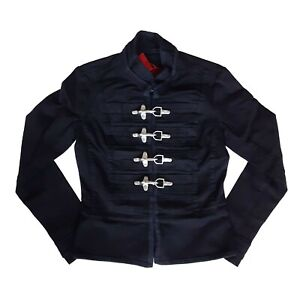 Tripp-NYC-Goth-Gothic-Horror-Punk-80s-Womens-Black-Military-Jacket-Coat-Size-XL