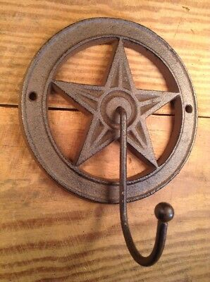 6 Cast Iron HORSESHOE Coat Hooks Hat Hook Rack Western Cowboy Rustic Decor