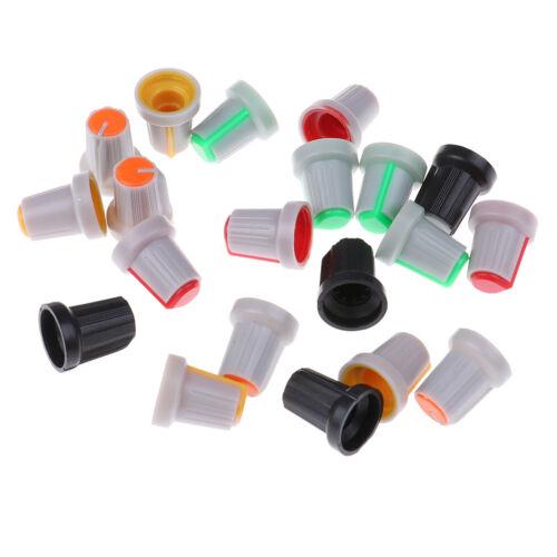 20 Pz 6mm Albero Diametro Foro Zigrinato Potenziometro Pot Knob Caps Color Ra