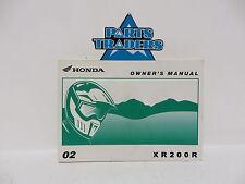 NOS Genuine Honda Owners Manual ZR200R XR 200 R XR200 200R 2002