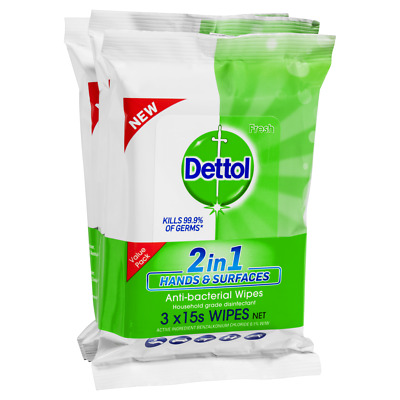 Details about  Dettol 2 in 1 Hands & Surfaces A/B Wipes 3 x 15 Pack Surface Disinfectant