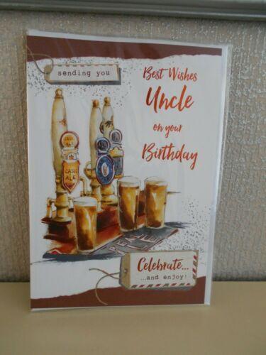Vous envoie meilleurs voeux oncle sur votre carte d/'anniversaire-PUB-Bar-bières Scène