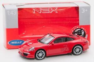 PORSCHE-911-991-Carrera-S-Rosso-Welly-scala-44042-1-43-modello-Auto-Giocattolo-Bambino-Regalo