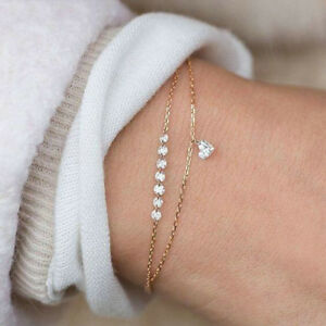 Charm-Jewelry-Women-Heart-Rhinestone-Crystal-Multilayer-Bracelet-Cuff-Bangle
