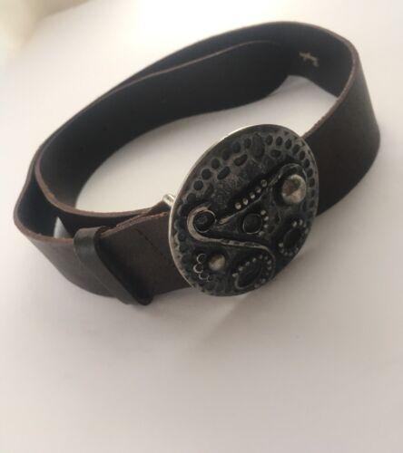 Garuglieri Brown Leather Reptile Pattern Belt Silver Buckle Women/'s Size M