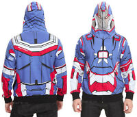 Marvel Avengers Ironman 3 Stark Patriot Hoodie Hoody Mesh Face Zip Hood Xl