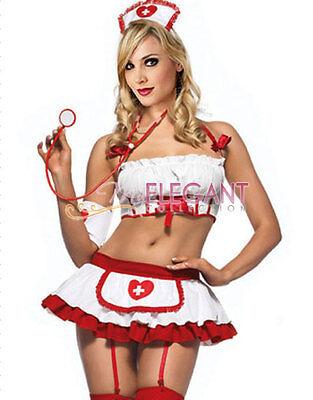 Lady Adult Women White Nurse Costume Halloween Fashion Outfit Dress Lingerie