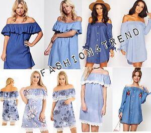 WOMENS LADIES DENIM BLUE JEANS FRILL OFF SHOULDER BARDOT SUMMER TUNIC DRESS 8-18