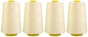 IVORY-SEWING-THREAD-120s-SPUN-POLYESTER-OVERLOCKING-5000-YARDS-X4-CONES