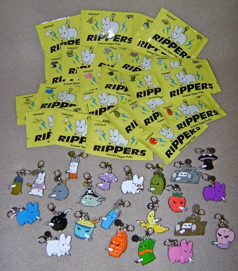 Frank Kozik Kidrobot COMPLETE Rippers Set Zipper Pulls 23 Piece Labbit Monger