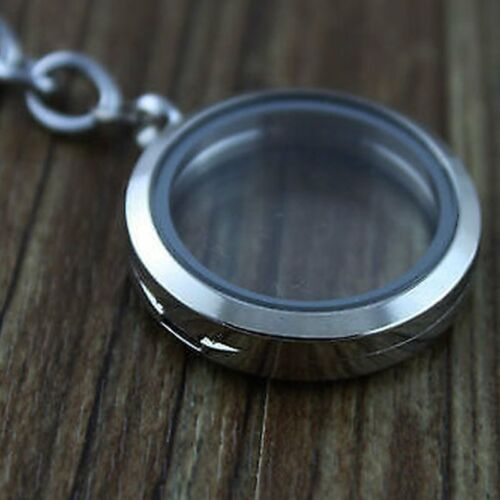 Silver 25mm Floating Charms Glass Locket Keychain Magnetic Keyring Living Memory