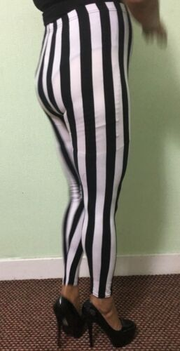 Stripes Leggings Super High Waist Women/'s Ladies Black /& White Legging Pants