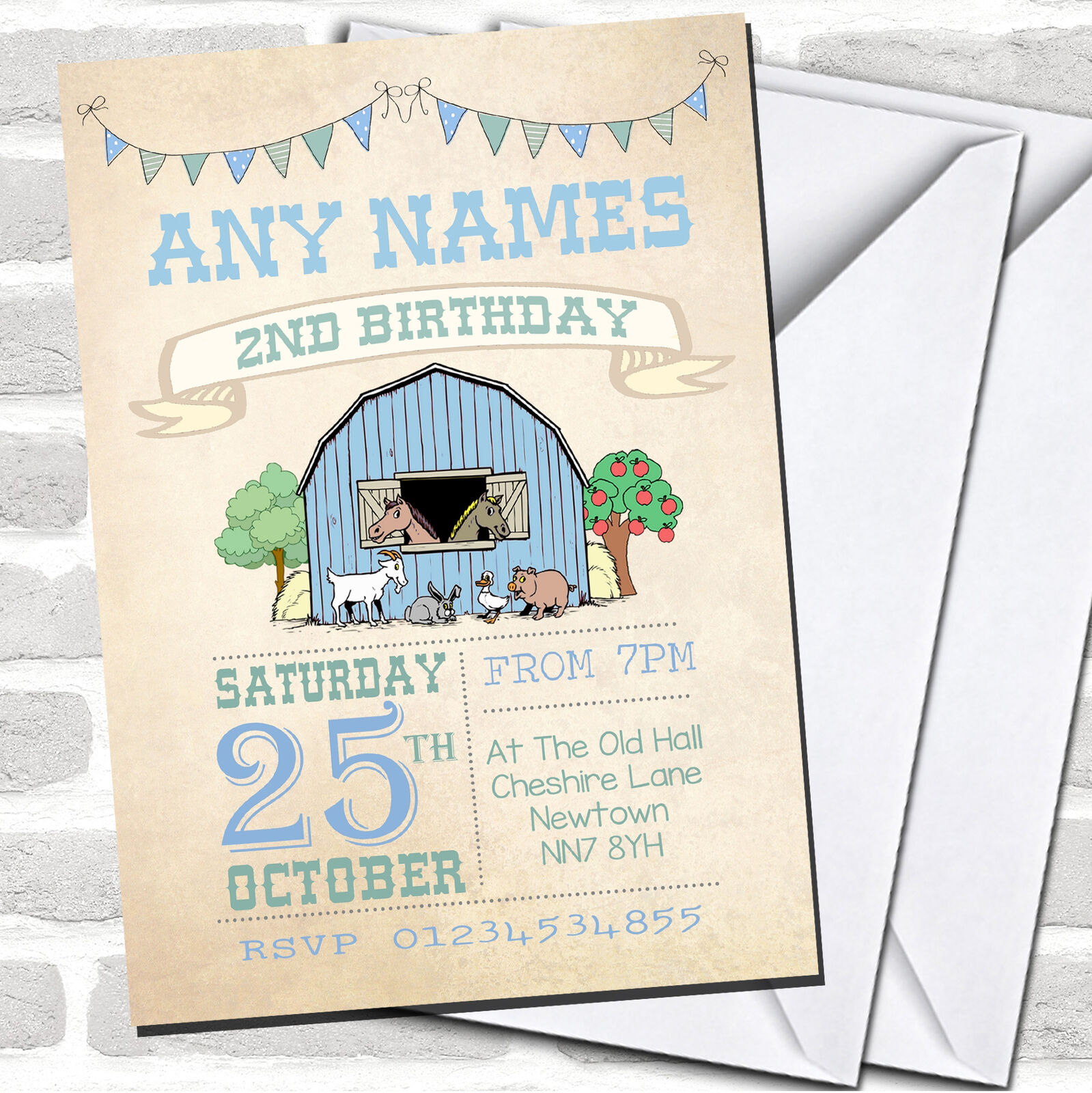 Boys Invitations Farm Animals Childrens Birthday Party 8e0e71