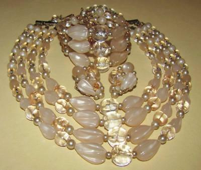 VTG~1950s SET Signd KRAMER Peach LUCITE BEAD 4-Strand NECKLACE Earrings BRACELET