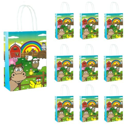 FARM ANIMAL BIRTHDAY PARTY BAGS Kids Girls Baby Goodies Paper Toy Favors Bag UK
