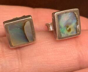 VTG-Sterling-Silver-NAVAJO-Abalone-Square-Post-Earrings