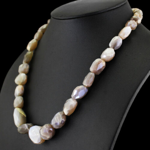 312.05 cts naturel unique STARND Moonstone Faceted Forme Perles Collier