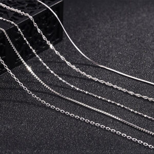 Sterling-silver-Italian-Adjustable-chain-Necklace-925-1-2mm-14-16-18-inch-Gift