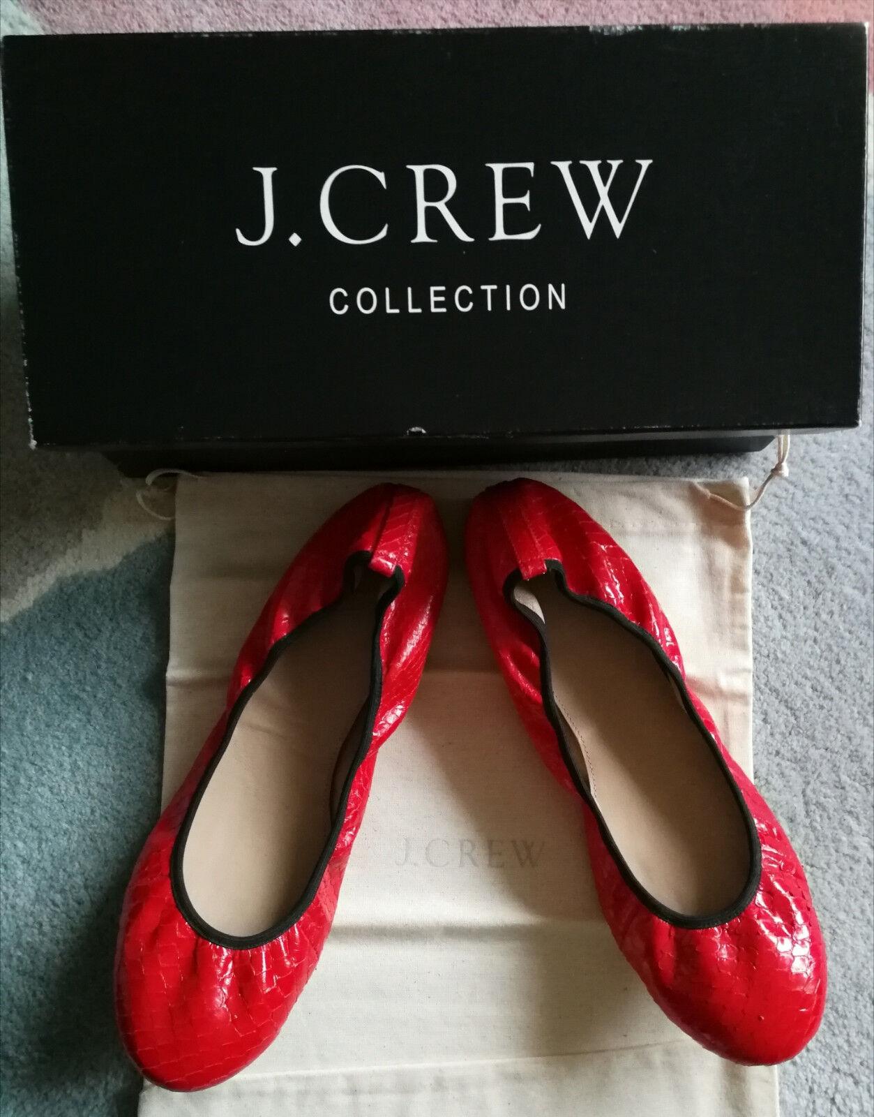 ti aspetto J Crew situazione Reale Pelle Di Serpente Ballerine Piatte Scarpe Scarpe Scarpe in Pelle Rosso 8 USA 5 UK NUOVO  marchio famoso