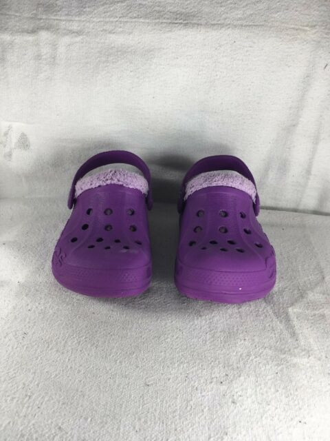 85a4831dcad3b Crocs Baya Heathered Wooly Lined Purple Clog Toddler Sz 6-7 EUC Mules Slip  Ons
