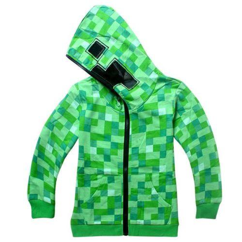 UK Minecraft Creeper Kids Boys Youth Hoodie Zip-Up Coat Sweater Jacket