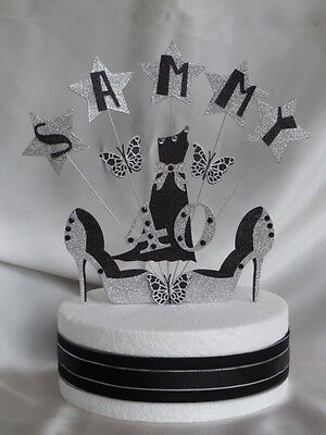 Birthday Cake Decoration Evening Gown With Shoes Personalised All Ages & Names