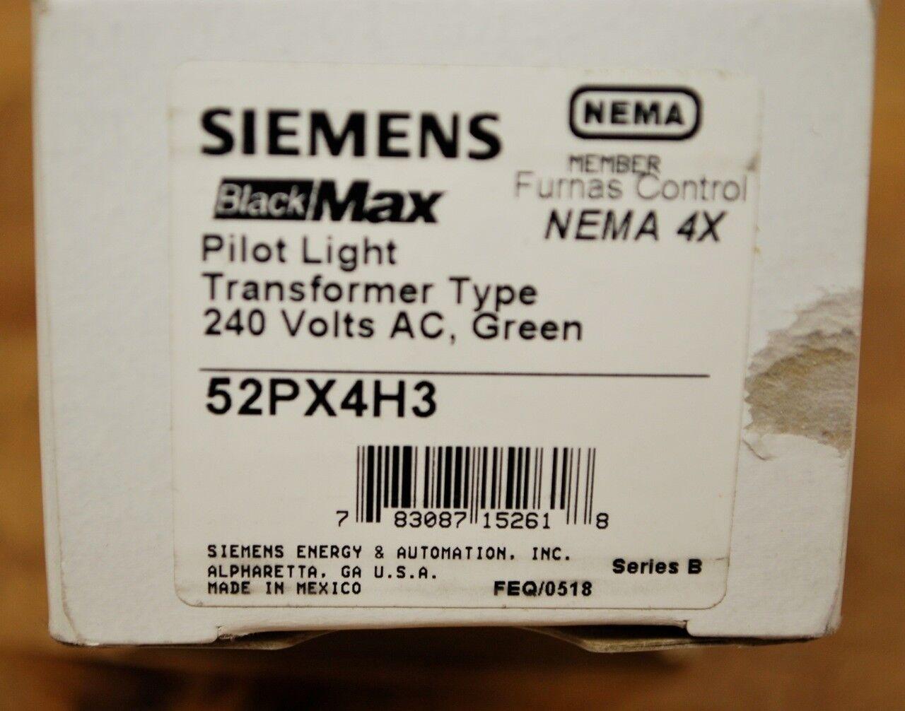 Siemens 52PX4H3 Pilot Light Transformer Type 240 VAC, Series B  Green - NEW