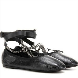 VALENTINO-GARAVANI-Noir-rockstud-chain-wrap-ballet-flats-ballerina-shoes-36-NEW