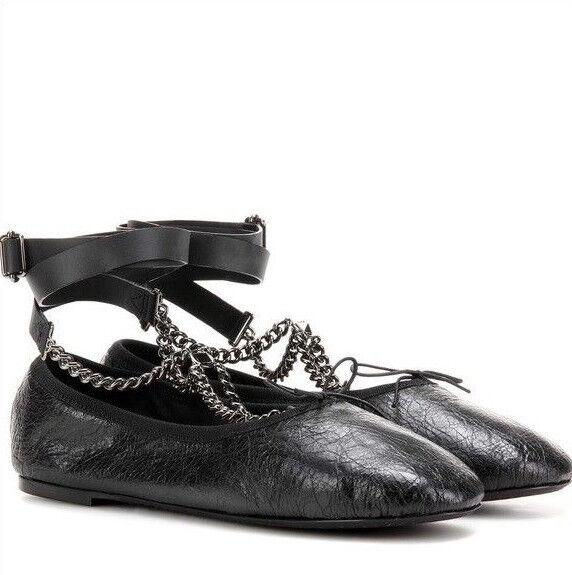 grossistförsäljning 50% pris online här VALENTINO GARAVANI Noir rockstud chain wrap ballet flats ballerina ...