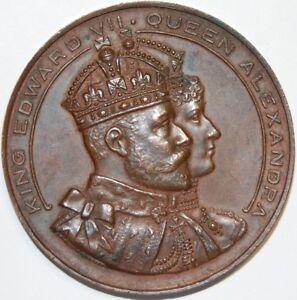 Modeste 1907-king Edward Vii & Queen Alexandra Visite à Cardiff-médaille Bronze-afficher Le Titre D'origine Effet éVident
