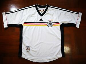 3ca53056264 Image is loading GERMANY-WORLD-CUP-1998-ADIDAS-FOOTBALL-SOCCER-JERSEY-
