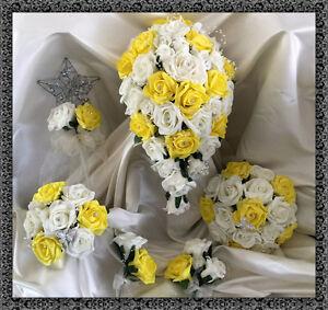 Bouquet Sposa Giallo.Dettagli Su Fiori Da Matrimonio Avorio Giallo Crystal Bouquet Sposa Bridesmaids Buttonholes Mostra Il Titolo Originale
