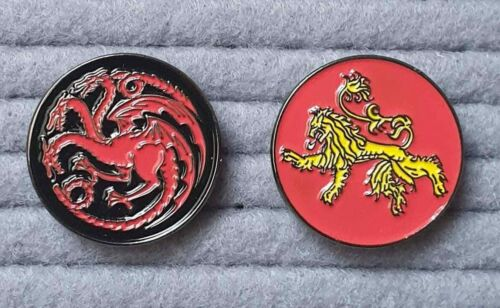 Set of 2 House of Lannister /& House of Tagaryen enamel pin badge Game of Thrones
