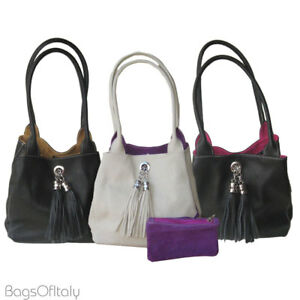 Image Is Loading Giglio Small Italian Leather Suede Handmade Reversible Tote