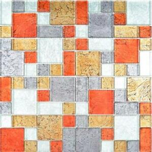 Détails sur Glasmosaik or argent noir rouge structure mur salle de bains  cuisine | 86-71739 10 Tapis- afficher le titre d\'origine