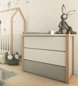 Kinderkommode Sideboard Holz Baby Kommode Kinderzimmer Weiß Grau ...