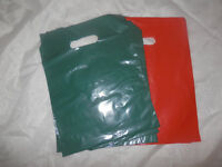100 9 X 12 Forest Green And Red Low-density Plastic Merchandise Bags