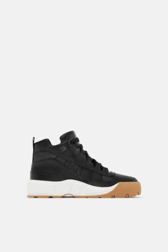 High top Trainers Uk Sneakers 3 Leather Black Bnwt Zara twqpWH