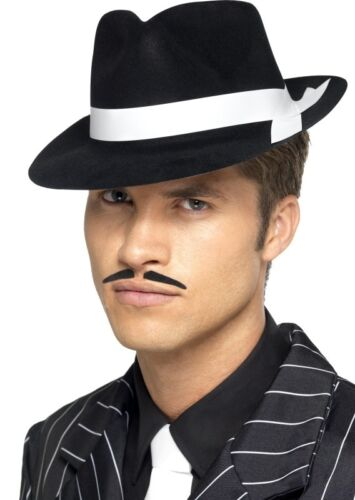 Blanco Trilby Fancy Dress Hat Para Hombre señoras Gangster Al Capone Bugsy Malone Negro