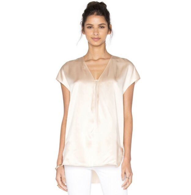 b0a8e34f0d220 VINCE White Silk Satin High Low Elegant Blouse Top S NWT  265  Business2Cocktails