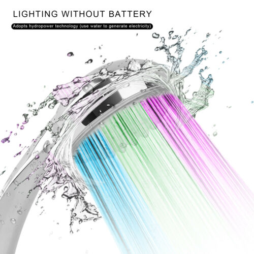 7 Color Changing LED Shower Head Handheld Automatically Hydropower without BAT