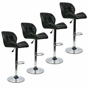 Set Of 4 PU Leather Bar Stools Modern Swivel Hydraulic Adjustable Height Chair