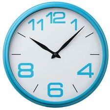 Wall Clock Blue Round Plastic Frame Kitchen & Office Modern Decoration